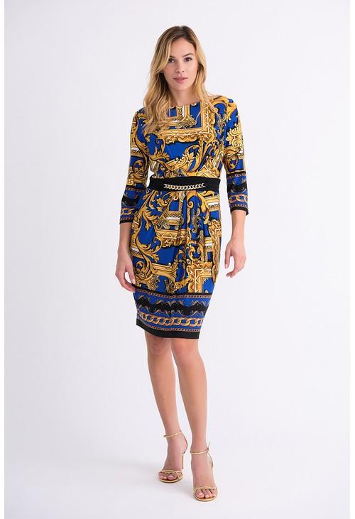 Joseph Ribkoff Royal Blue and Gold Print Dress