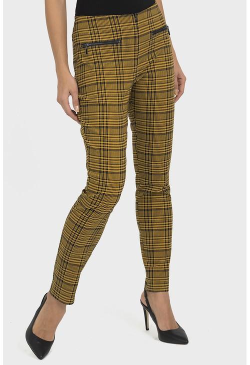 Joseph Ribkoff Mustard Check Trousers