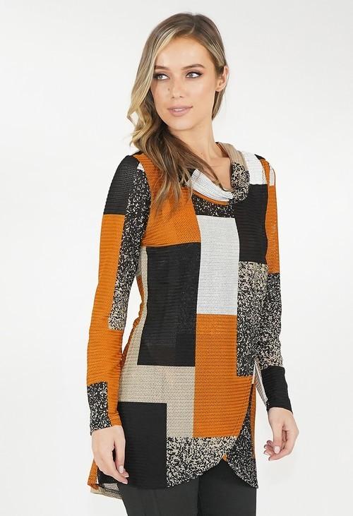Stella Morgan Block Multi Colour Rouched Neck Top
