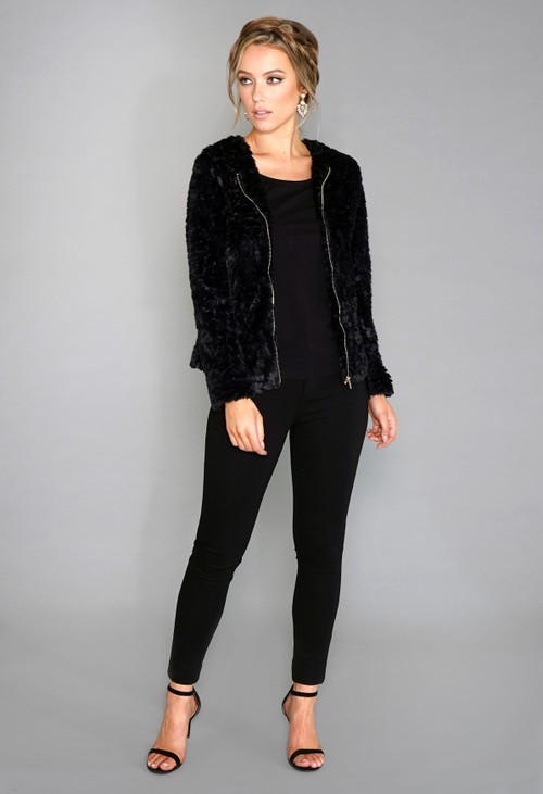 Stella Morgan Black Faux Fur Jacket