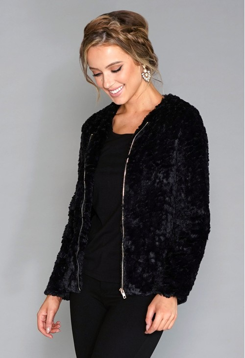 Pamela Scott Black Faux Fur Jacket