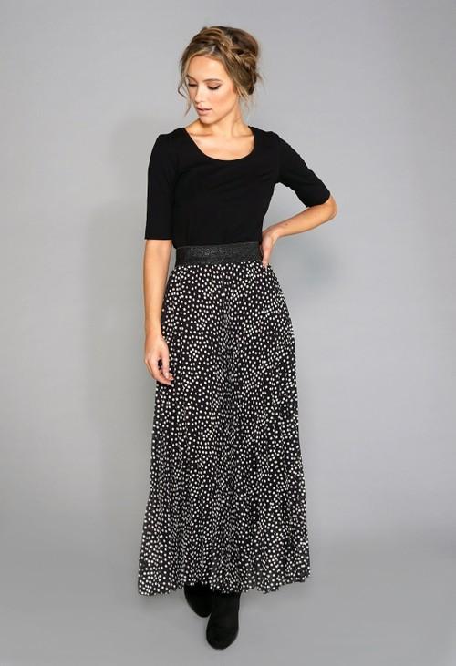 Pamela Scott Black Print Pleat Skirt