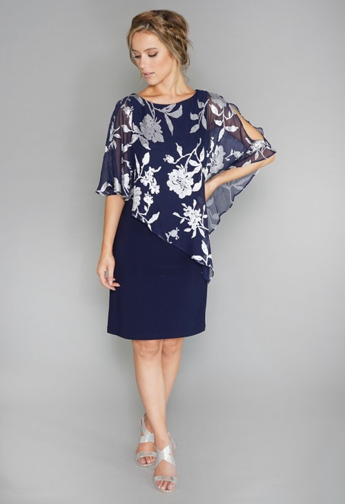 Scarlett Navy and Silver Chiffon Cape Dress