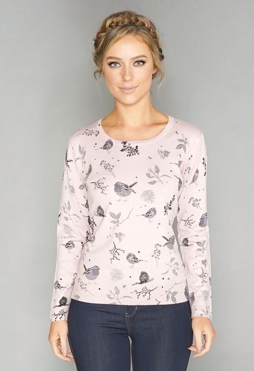 Pamela Scott Pink Bird Print Pullover with Diamonte Detail