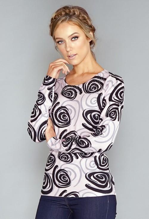 Pamela Scott Pink Swirl Print Pullover with Diamonte Detail