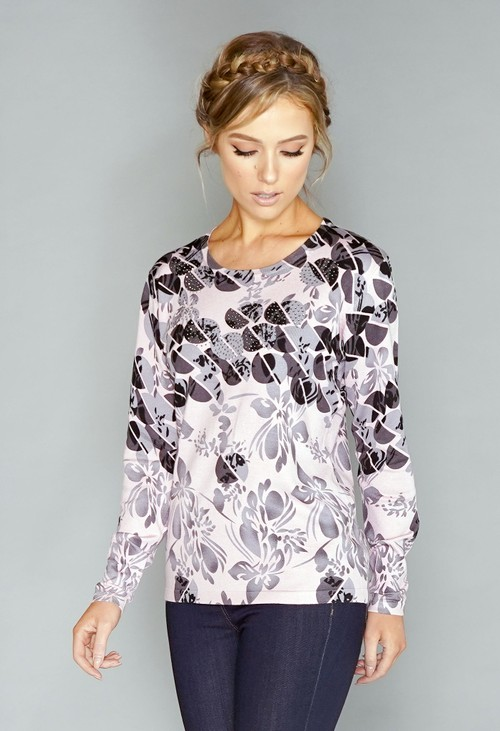 Pamela Scott Pink Floral Print Pullover with Diamonte Detail
