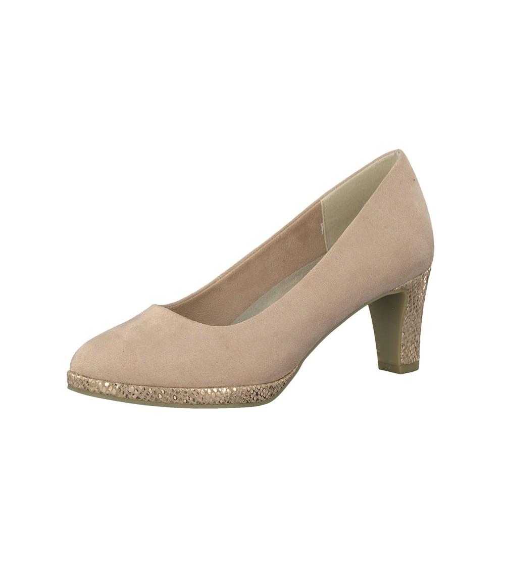Marco Tozzi Mid Heel Pink Micro Fibre Court Shoe