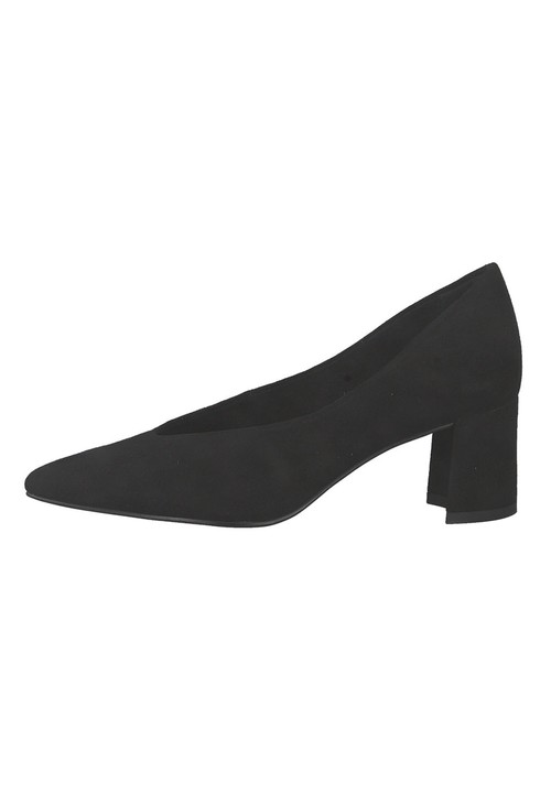 Marco Tozzi Low Heel Black Micro Fibre Court Shoe