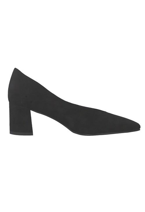Marco Tozzi Low Heel Black Micro Fibre Court Shoe