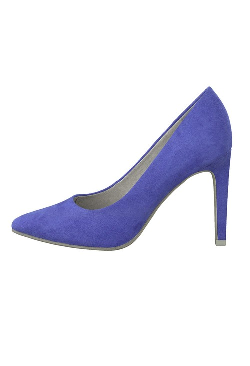 Marco Tozzi High Heel Cobalt Blue Micro Fibre Court Shoe