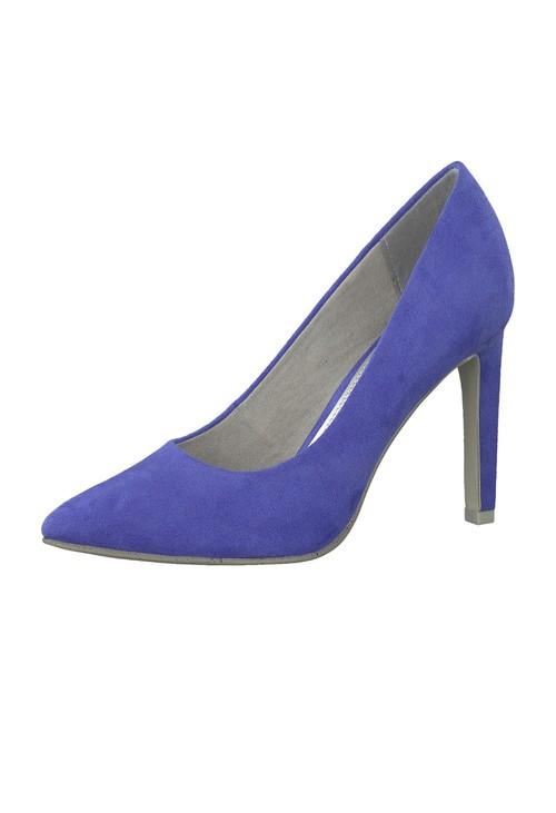 Marco Tozzi High Heel Cobalt Blue Micro Fibre Court Shoe