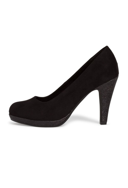 Marco Tozzi High Heel Black Micro Fibre Court Shoe