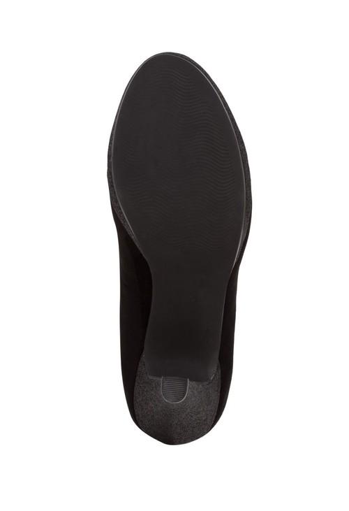 Marco Tozzi High Heel Black Micro Fibre Court Shoe