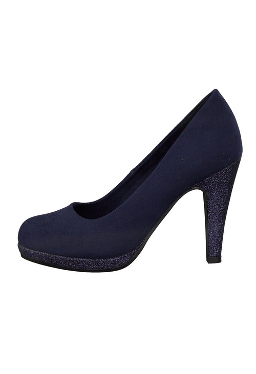 Marco Tozzi High Heel Navy Micro Fibre Court Shoe