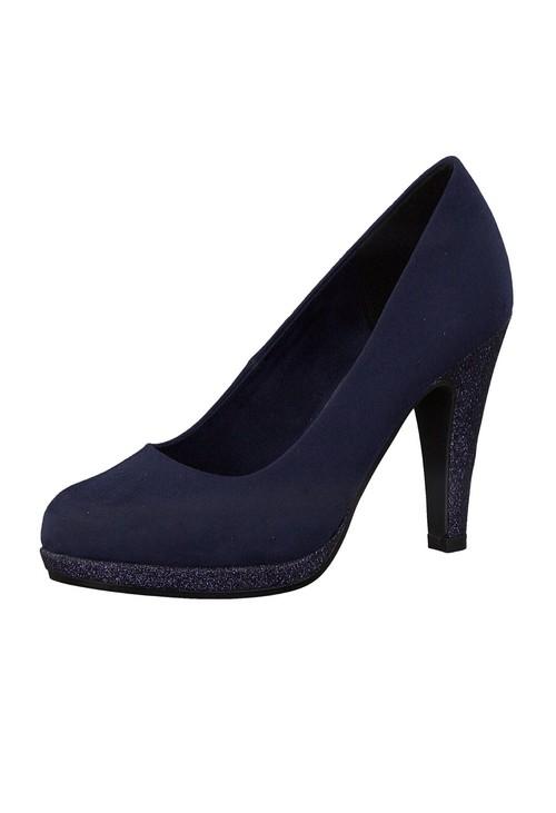 Marco Tozzi High Heel Navy Micro Fibre Court Shoe