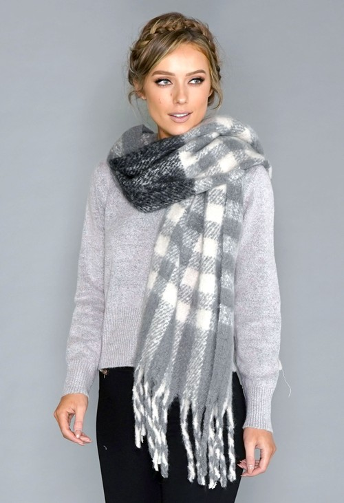 Pamela Scott Grey Check Cosy Scarf