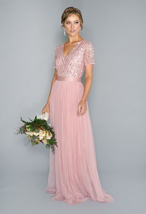 Maya Dusky Pink V Neck Sequin and Tulle Dress with Tie Waist | Pre-order now