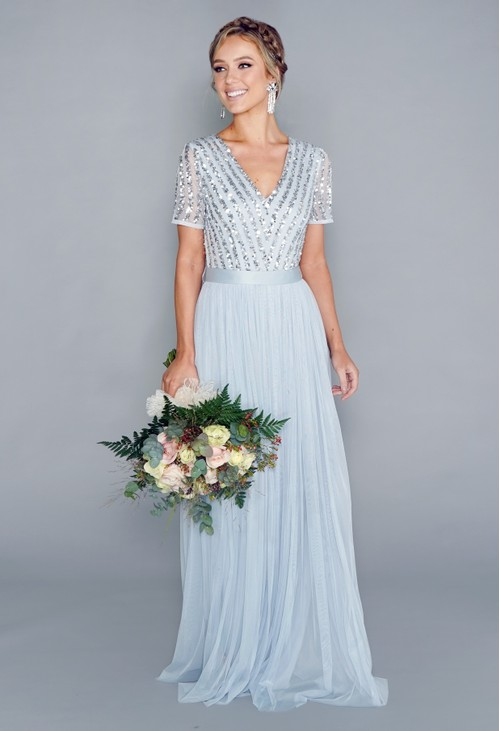 Maya Light Blue V NECK SEQUIN AND TULLE DRESS WITH TIE WAIST
