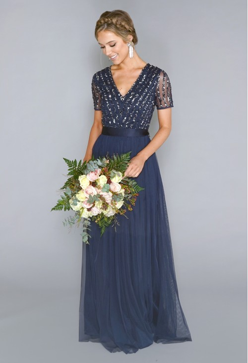 Maya NAVY V NECK SEQUIN AND TULLE DRESS WITH TIE WAIST | PRE-ORDER NOW