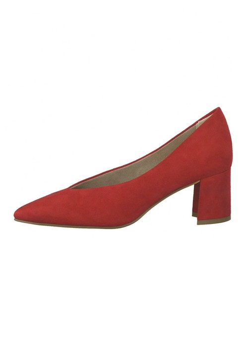 Marco Tozzi Low Heel Red Micro Fibre Court Shoe