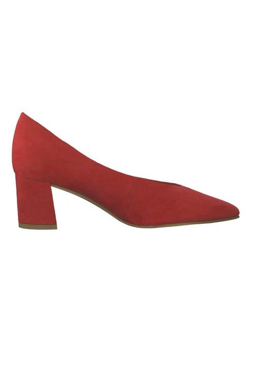 Marco Tozzi Low Heel Red Micro Fibre Court Shoe