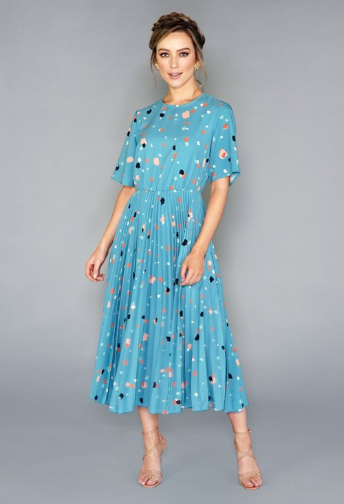 Closet TEAL MULTI PRINT SHORT SLEEVE PLEATED DRESS