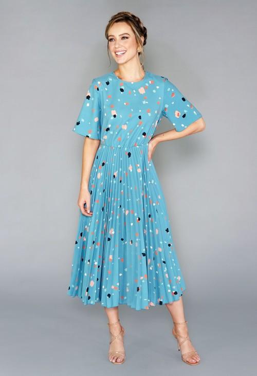 Closet TEAL MULTI PRINT SHORT SLEEVE PLEATED DRESS