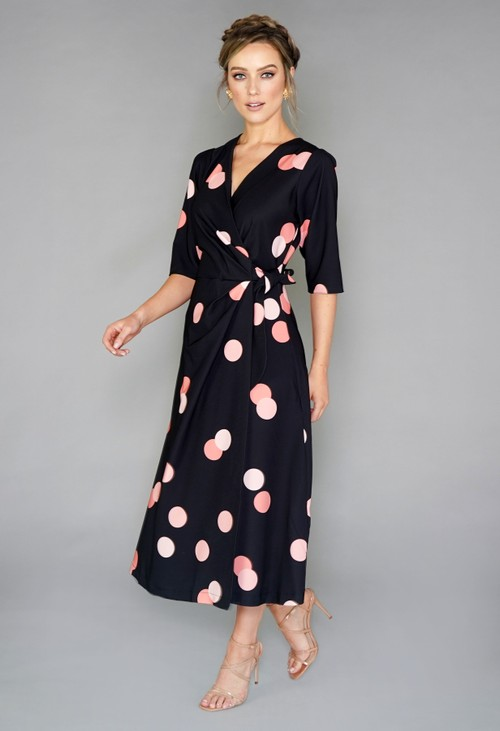 Closet BLACK AND PEACH POLKA DOT WRAP TIE DRESS