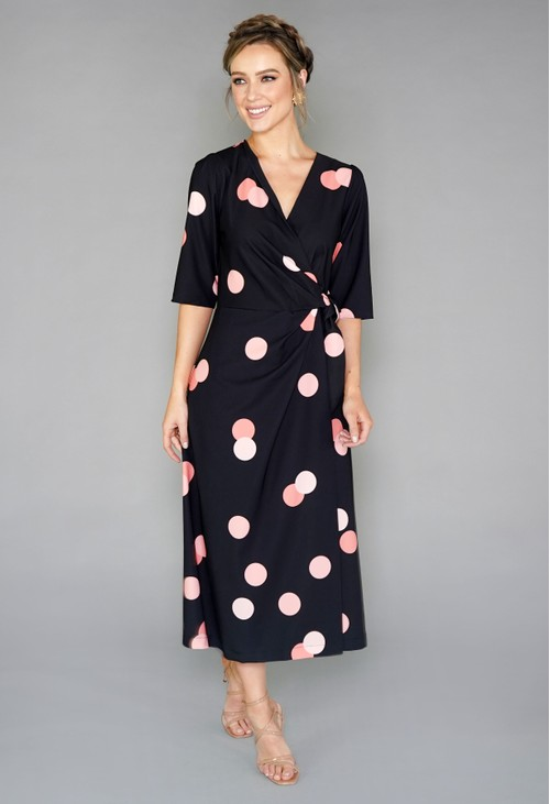 Closet BLACK AND PEACH POLKA DOT WRAP TIE DRESS
