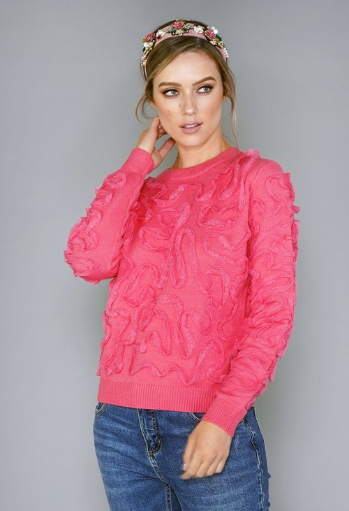 Pamela Scott Coral Lace Design Knit