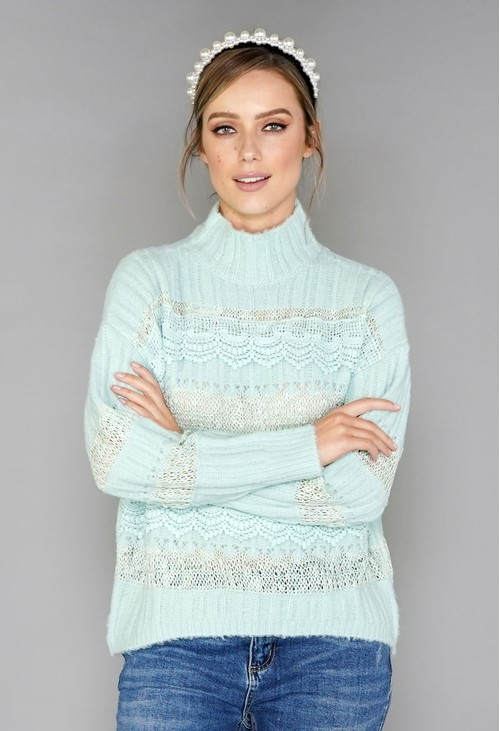Pamela Scott Mint Green Embroidery Pattern Knit