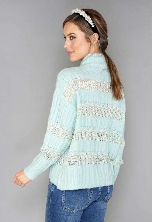 Pamela Scott Mint Green Embroidery Pattern Knit