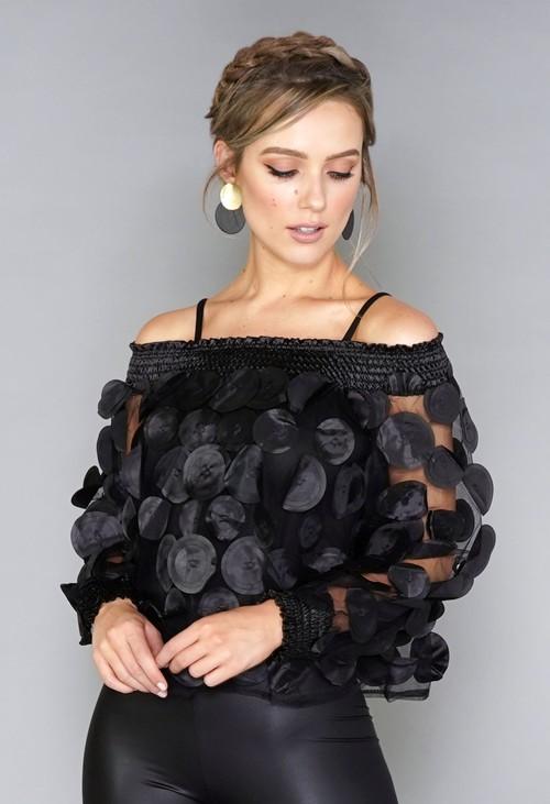 Pamela Scott Black Circles Mesh Top with Vest