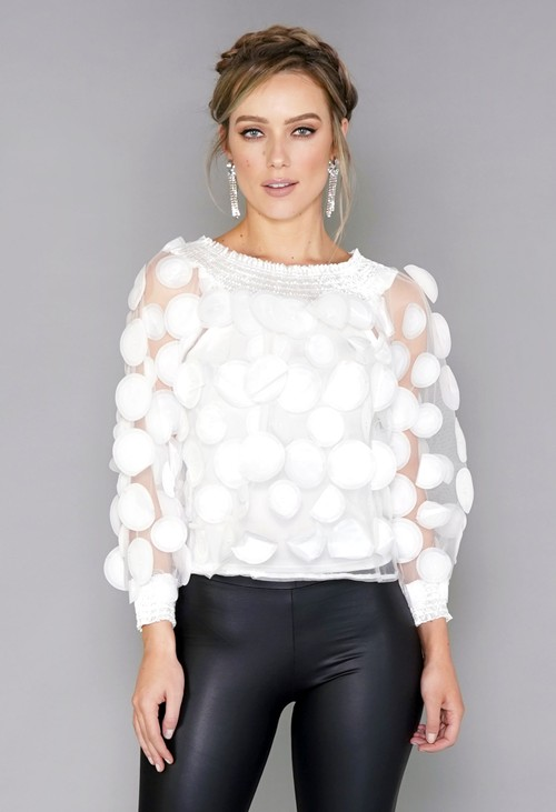 Pamela Scott White Circles Mesh Top with Vest