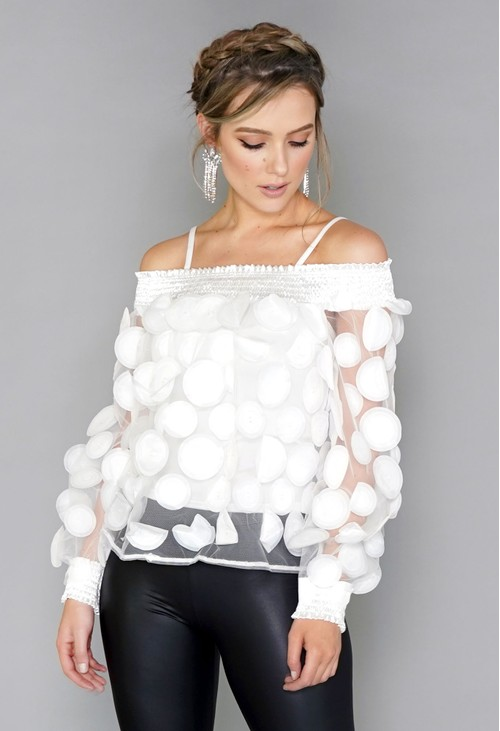 Pamela Scott White Circles Mesh Top with Vest