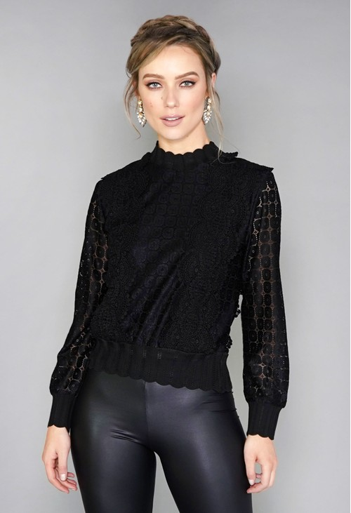 Pamela Scott Black Crochet Jumper