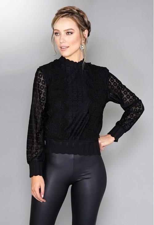 Pamela Scott Black Crochet Jumper