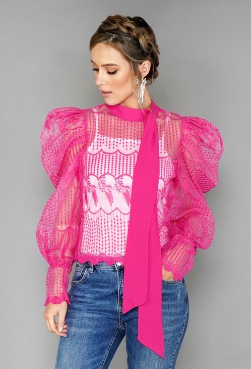 Pamela Scott Pink Puff Sleeve Embroidered Mesh Top