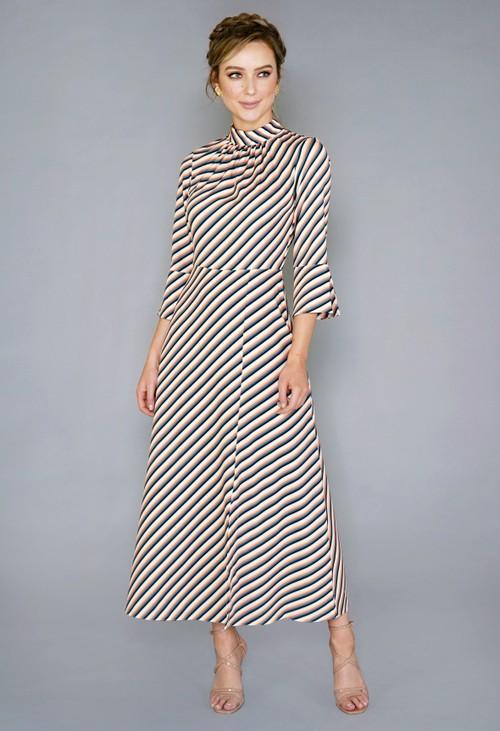 Closet CREAM ASYMMETRIC A-LINE DRESS
