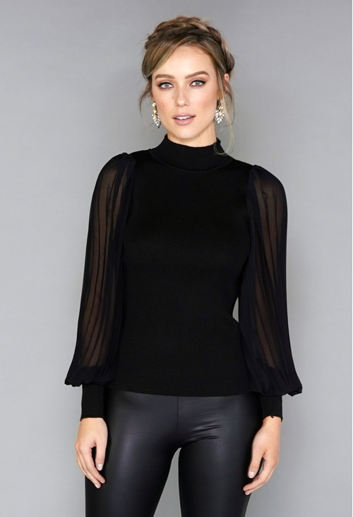 Pamela Scott Pleated Sleeve Pullover