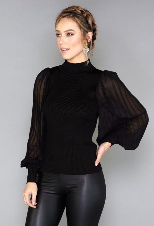 Pamela Scott Pleated Sleeve Pullover