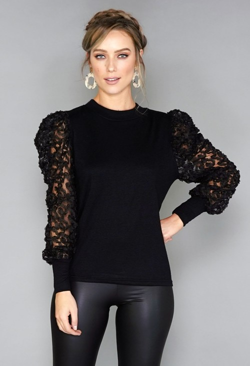Pamela Scott Textured Mesh Sleeve Pullover