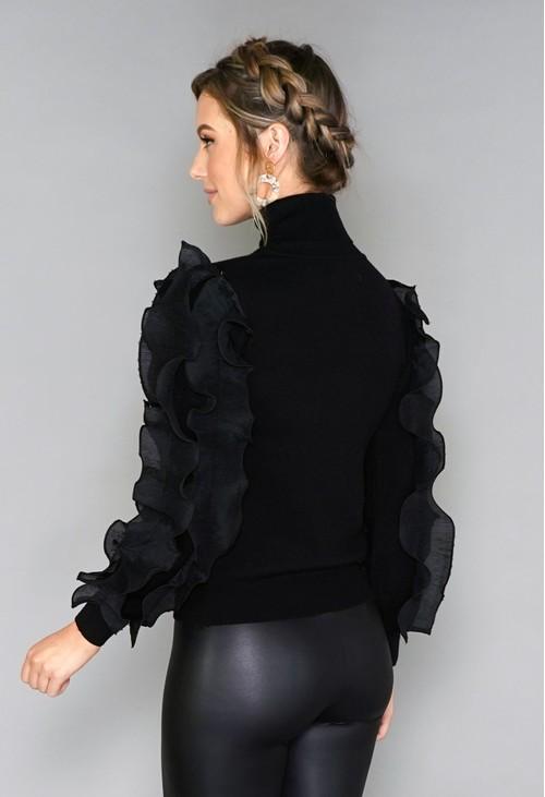 Pamela Scott Ruffle Sleeve Knit