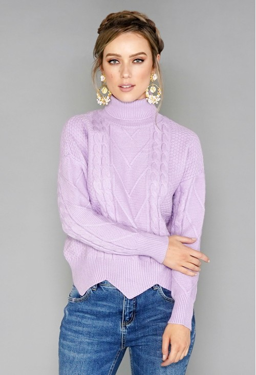 Pamela Scott Lilac Cable Knit Turtleneck