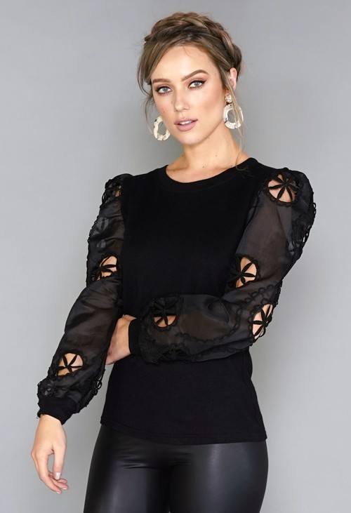 Pamela Scott Black Sleeve Design Top