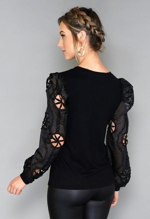 Pamela Scott Black Sleeve Design Top