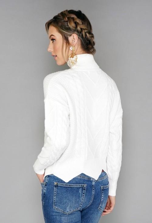 Pamela Scott White Cable Knit Turtleneck
