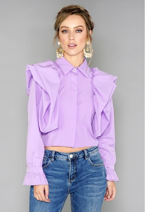 Pamela Scott Purple Puff Sleeve Blouse