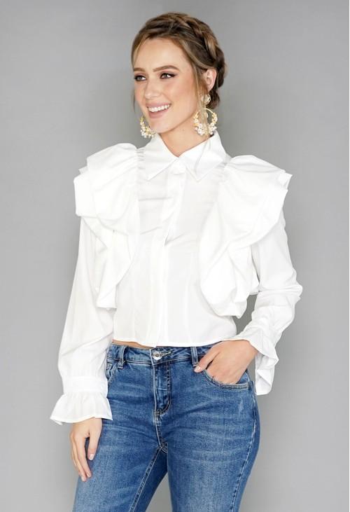 Pamela Scott White Puff Sleeve Blouse