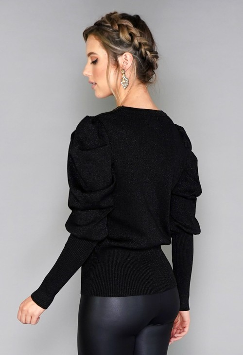 Pamela Scott Sparkle Puff Sleeve Knit